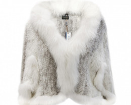 KNITTED MINK FUR CAPE WITH FOX FUR COLLAR #WHITE&GREY