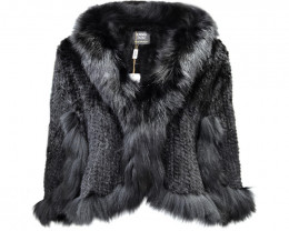 KNITTED MINK FUR CAPE WITH FOX FUR COLLAR #BLACK
