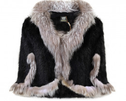KNITTED MINK FUR CAPE WITH FOX FUR COLLAR #BLACK&GREY