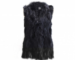 RABBIT & FOX FUR VEST #black