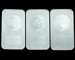 Silver. 9999 Perth Mint kangaroo bar  Three bars