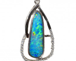 925 ST/ SILVER RHODIUM PLATED OPAL DOUBLET PENDANT [TP36]