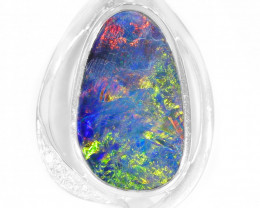 925 ST/ SILVER RHODIUM PLATED OPAL DOUBLET PENDANT [TP28 ]