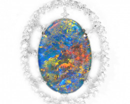925 ST/ SILVER RHODIUM PLATED OPAL TRIPLET PENDANT [TP 29]