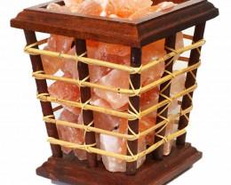 5kg Himalayan Salt Chunks Bamboo Fire Basket Lamp (12V-12W)