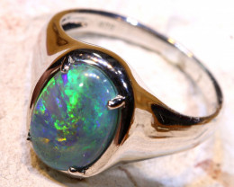 Natural Australian Solid Opal Ring Laz-N268