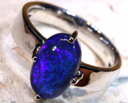 Natural Australian Solid Opal Ring Laz-M735