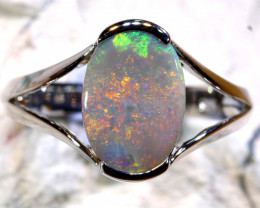 Natural Australian Solid Opal Ring Laz-N607