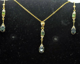 Aussie Sapphires & Diamond in Gold Plated necklace & Earring set