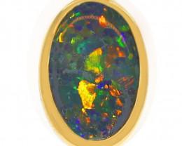 18k Gold Black Crystal Opal Pendant [TP44]