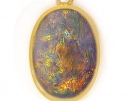 18K Gold Black Crystal Opal Pendant [TP47]