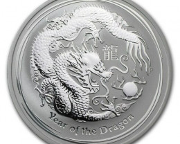 2012 PERTH MINT   DRAGON TW0 OUNCE COIN 99.9% PURE SILVER
