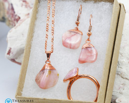 4 Piece Rose Opal Jewelry set $99 for $19.00  - Ring Size R -