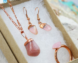 Pink Opal Jewelry set $99 for $19.00 - Ring Size Q -