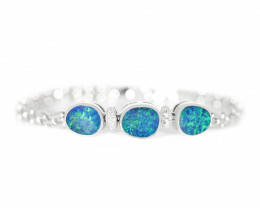 Auction #887347 14K GOLD DOUBLET OPAL BRACELET WITH DIAMONDS [TB02]