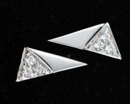 18 K White Gold Diamond earrings - H8 - E11623 -2