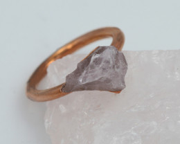 Raw natural Crystal Ring Size K with Cleansing stone NA191