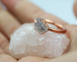 Raw natural Crystal Ring Size P with Cleansing stone NA193
