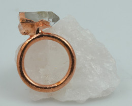 Raw natural Crystal Ring Size K with Cleansing stone NA200