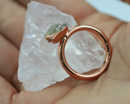 Raw natural Crystal Ring Size N with Cleansing stone NA202