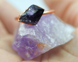 Raw Amethyst stone in Copper ring size  R with cleansing stone NA201