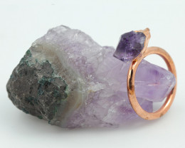 Raw Amethyst stone in Copper ring size P   with cleansing stone NA203