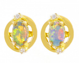 18K GOLD COOBER PEDY OPAL PIERCE EARRINGS [TE05]