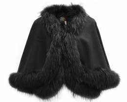 Fox Fur Collar & Cashmere Poncho #black