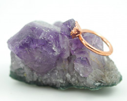 Raw Amethyst stone in Copper ring size K  with cleansing stone NA207