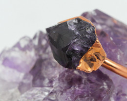 Raw Amethyst stone in Copper ring size P with cleansing stone NA208