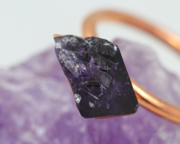 Raw Amethyst stone in Copper ring size N  with cleansing stone NA209