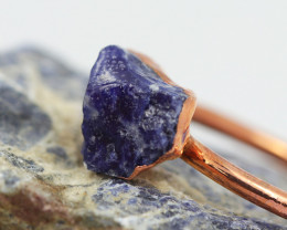 Raw natural Sodalite Ring Size  T with Cleansing stone NA196