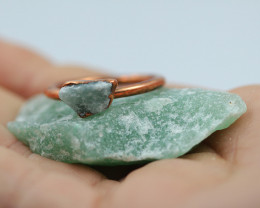 Raw natural Aventurine  Ring Size R  with Cleansing stone NA198