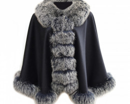 Fox Fur Collar & Cashmere Poncho #two tone