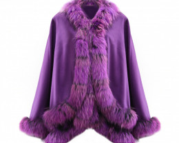 Auction #10900 Fox Fur Collar & Cashmere Poncho #purple