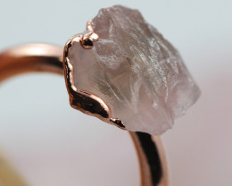 Raw natural Crystal Ring Size K with Cleansing stone NA211