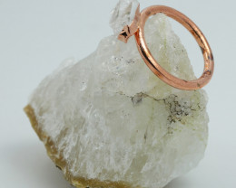 Raw natural Crystal Ring Size R with Cleansing stone NA213