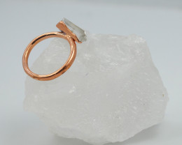 Raw natural Crystal Ring Size N with Cleansing stone NA214