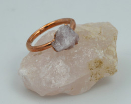 Raw natural Crystal Ring Size N with Cleansing stone NA216
