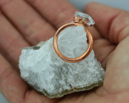 Raw natural Crystal Ring Size L with Cleansing stone NA217