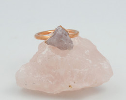 Raw natural Crystal Ring Size R with Cleansing stone NA218