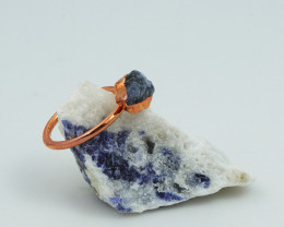 Raw natural Sodalite Ring Size R  with Cleansing stone NA219
