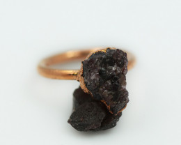 Raw natural Garnet with Cleansing stone set in copper ring Size H NA223