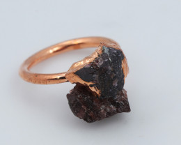 Raw natural Garnet with Cleansing stone set in copper ring Size K NA224