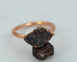 Raw natural Garnet with Cleansing stone set in copper ring Size R NA226