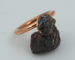 Raw natural Garnet with Cleansing stone set in copper ring Size P NA228