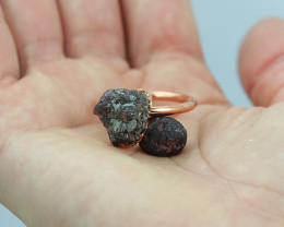Raw natural Garnet with Cleansing stone set in copper ring Size R NA229