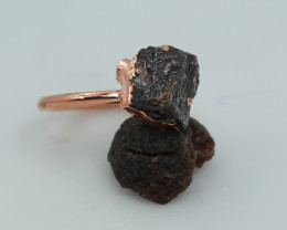 Raw natural Garnet with Cleansing stone set in copper ring Size H NA230