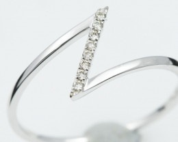 18 K White Gold Engagement Diamond Ring Size O - H53 - R11478