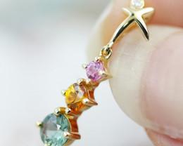 14k Gold Natural Color Sapphires & Diamond Pendant - P12339 - G108